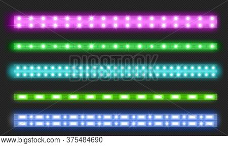 Double Row Led Strips With Neon Glow Effect Isolated On Transparent Background. Vector Realistic Set