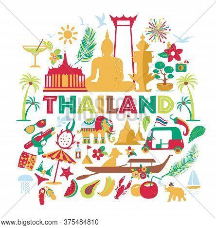 Asia Culture Set Of Bruight Icons - Bangkok Thailand Vector Illustration On White Background. Tou