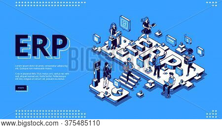 Erp, Enterprise Resource Planning Isometric Landing Page. Productivity And Improvement System, Data