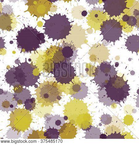 Watercolor Transparent Stains Vector Seamless Grunge Background. Scribble Ink Splatter, Spray Blots,