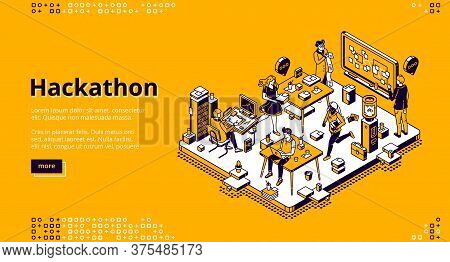 Hackathon Isometric Landing Page. Team Of Computer Programmers, Project Managers, Graphic Designers