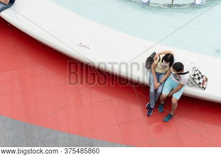 Kiev, Ukraine, July 4 2020, Lovely Couple, Caucasian Man And Caucasian Woman At Protective Medical M