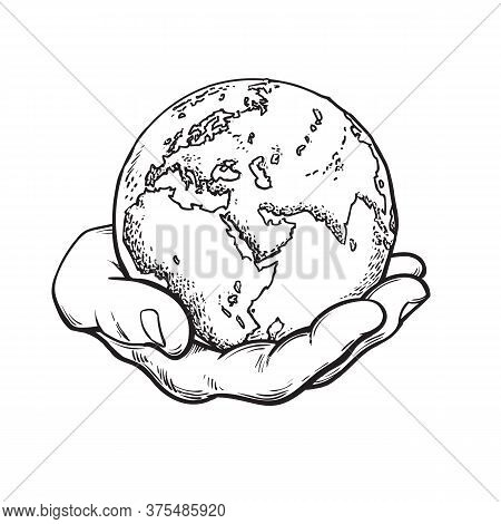 Human Hand Holding Globe. Earth In Mans Palm. Save Planet Idea. Travel Icon. Power Over The World Co