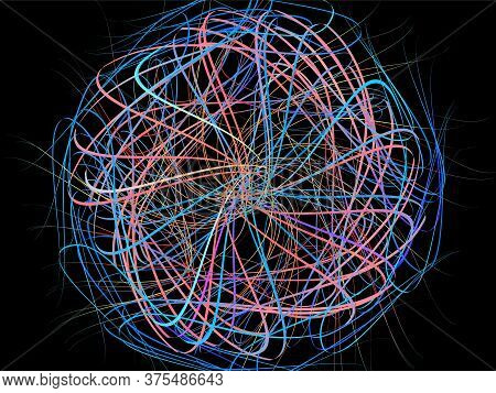 Ribbon Flow Color Swirl Strokes. Wave Sea Isolated Random Lines. Wires As Hair Beam Sheaf. Liquid Pa