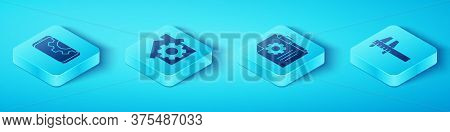 Set Isometric Setting On Smartphone, House With Gear, Calliper Or Caliper And Scale And Document Set
