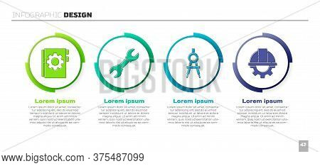 Set User Manual, Wrench Spanner, Drawing Compass And Worker Safety Helmet And Gear. Business Infogra