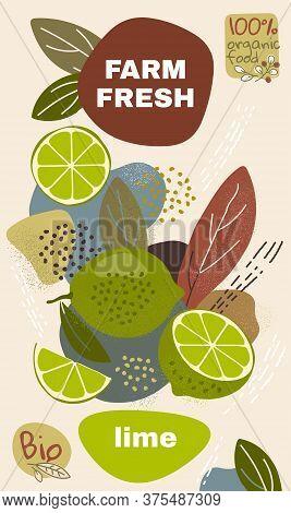 Food Label Template. Vector Illustration For Organic Lime Fruit. Natural Bio Fruits Package Design.
