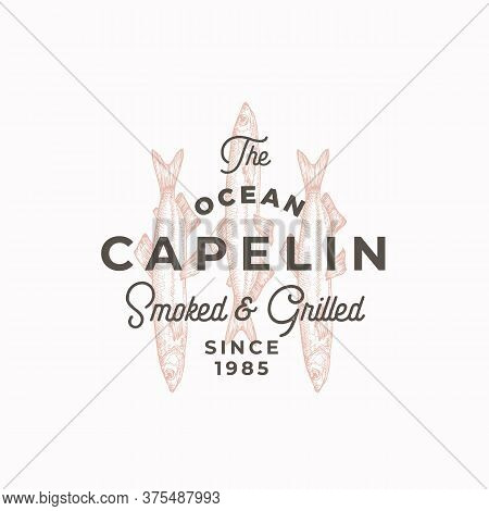 Smoked And Grilled Fish. Abstract Vector Sign, Symbol Or Logo Template. Hand Drawn Capelin With Clas
