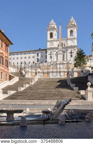 Spanish Steps And The Barcaccia Fountain