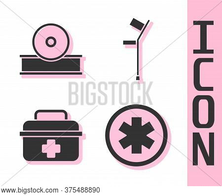 Set Medical Symbol Of The Emergency, Otolaryngological Head Reflector, First Aid Kit And Crutch Or C