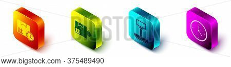 Set Isometric Cardboard Box And Fast Time, Cardboard Box With Traffic Symbol, Scale And Fast Time De