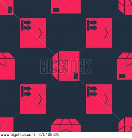 Set Cardboard Box With Traffic Symbol And Carton Cardboard Box On Seamless Pattern. Vector