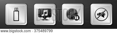 Set Usb Flash Drive, Musical Note In Speech Bubble, Vinyl Disk And Speaker Mute Icon. Silver Square