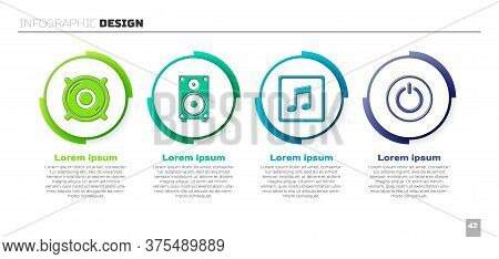 Set Stereo Speaker, Stereo Speaker, Music Note, Tone And Power Button. Business Infographic Template