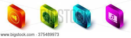 Set Isometric Speaker Volume, Vinyl Disk, Vinyl Disk And Laptop With Music Note Icon. Vector