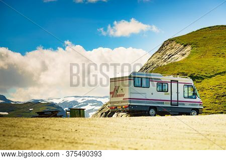 Vikafjellet, Norway - July 5, 2018: Clou Liner Caravan On Roadside In Vikafjellet Between Vinje - Vi