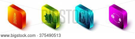 Set Isometric Oil Rig With Fire, Oil Industrial Factory Building, Oil Industrial Factory Building An