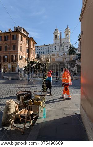Street Vendor Stand At The Spanish Steps, Rome, Italy