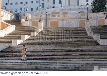 Two Tourists Take A Selfie On The Spanish Steps, Rome, Italy