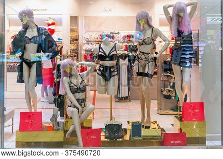 Moscow. Russia. June 8, 2020. Dummy In Lingerie. Showcase Lingerie Store.