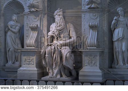 Rome, Italy - 21 Jan 2020: Detail Of The Altar Sculpture Group Of Prophet Moses, Famous Sculpture By