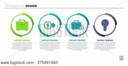 Set Briefcase, Coin Money With Dollar, Briefcase And Money And Light Bulb With Concept Of Idea. Busi