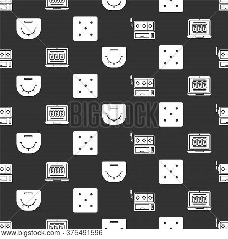 Set Slot Machine, Laptop And Slot Machine, Poker Table And Game Dice On Seamless Pattern. Vector