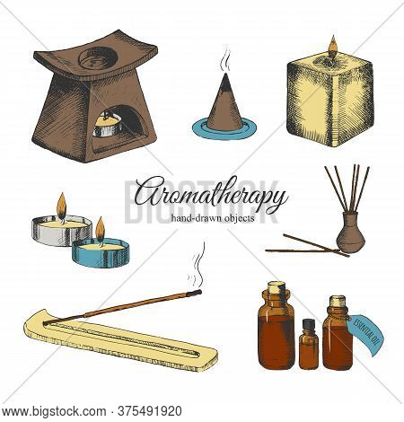Aromatherapy Set In Color. Treatment Of Essential Oils. Relaxation And Recreation. Incense Sticks An