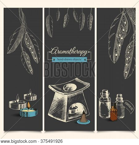 Set For Aromatherapy With Essential Oils And Spices With Feathers. Banners. Hand-drawn, Sketch. Vect