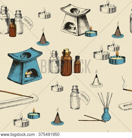 Aromatherapy Seamless Pattern With Hand Drawn Objects. Incense Sticks, Essential Oils, Candle And Oi