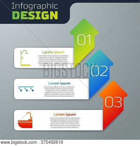 Set Shower, Led Track Lights And Lamps And Washbasin With Water Tap. Business Infographic Template.
