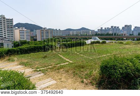 Gimhae, South Korea - June 18, 2017 : Daeseong-dong Tumuli Or Tombs Of Gaya Kingdom In Gimehae, Sout