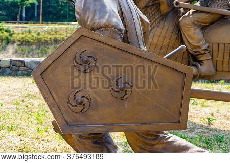 Gimhae, South Korea - June 18, 2017 : Replica Of Gaya Dynasty  Footman Shield Statue In Gimehae, Sou