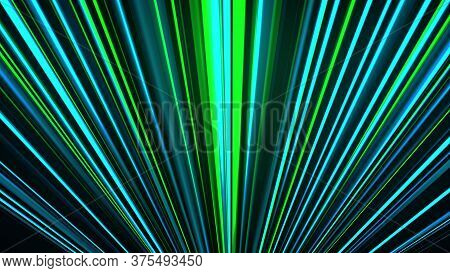 Abstract Neon Glow Of Spotlight Lines, Computer Generated. 3d Rendering Abstract Backdrop With Color