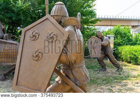 Gimhae, South Korea - June 18, 2017 : Replica Of Gaya Dynasty  Footman  Bronze Statue In Gimehae, So