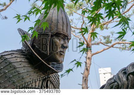 Gimhae, South Korea - June 18, 2017 : Close Up Of Replica Of Gaya Dynasty Horseman Bronze Statue In
