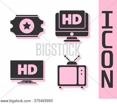 Set Retro Tv, Cinema Ticket, Smart Display With Hd Video And Monitor With Hd Video Icon. Vector