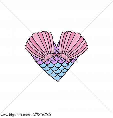 Mermaid Heart Vector Hand Drawn Illustration. Summer Ocean, Sea Mermaid Creature Heart With Sea Shel