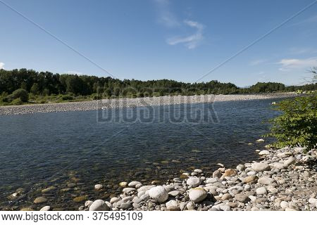 Sesia River On A Sunny Day, Piedmont, Italy