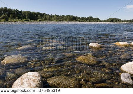 Clear Waters Of Sesia River On Sunny Day, Piedmont, Italy