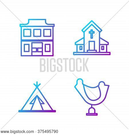 Set Line Wild West Saddle, Indian Teepee Or Wigwam, Wild West Saloon And Church Building. Gradient C