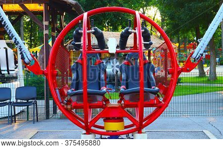 Extreme Attraction In The Park Red Round Catapult Close-up