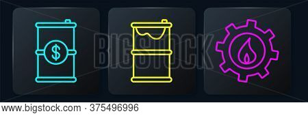 Set Line Barrel Oil With Dollar, Oil Industrial Factory Building And Barrel Oil Leak. Black Square B