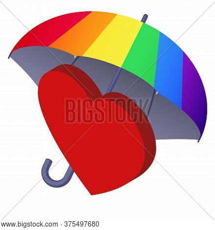 Red Heart Under Colourful Rainbow Umbrella. Tolerance And Lgbt Rights Concept, Friendship And Peace