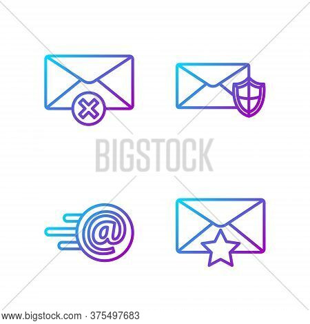 Set Line Envelope With Star, Mail And E-mail, Delete Envelope And Envelope With Shield. Gradient Col