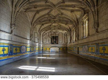 Lisbon, Portugal - 05.08.2017 Monastery Of Jeronimos (mosteiro Dos Jeronimos), Manueline Style, In B