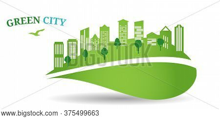 Green City Concept. The Combination Of Architecture With Nature. Ecological City And Environment Con