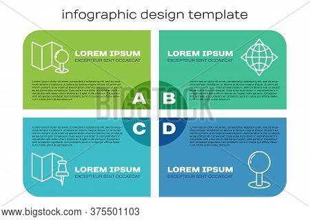 Set Line Folded Map With Push Pin, Folded Map With Push Pin, Push Pin And World Globe With Compass.