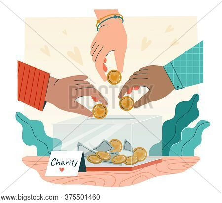 Charity Concept With The Hands Of Diverse People Donating Cash Into A Charity Box, Colored Vector Il