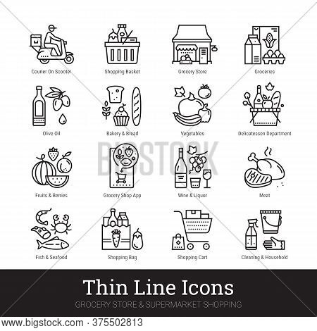 Grocery Store, Supermarket Departments, Online Shopping, Delivery Thin Line Icons For Web, Mobile Ap